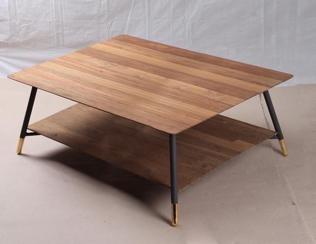 Table Basse En Teck Recycle Et Metal Double Plateau