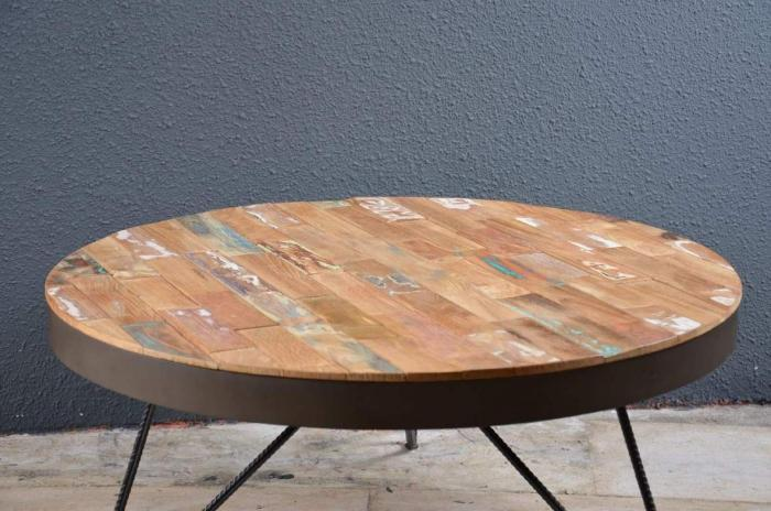 Pin table basse industrielle ronde m tal 1930 on pinterest - Table basse ronde industrielle ...