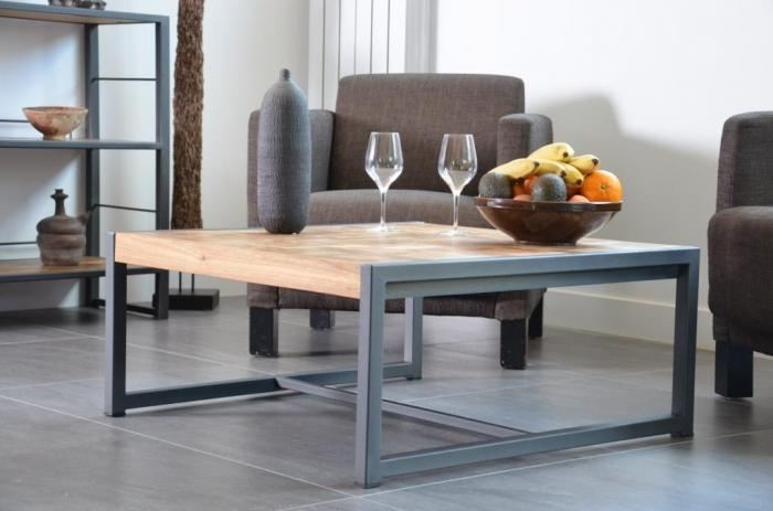 Vente table basse teck recycl carr e 80 x 80 cm table for Table salle a manger 80 cm