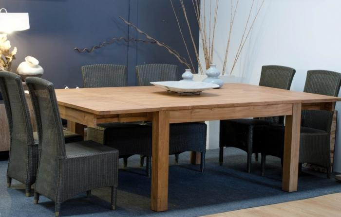 Achat table 12 personnes carr e en teck 140x140 2 rallonges int gr es walk - Grande table carree salle manger ...