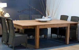 Table en teck de salle manger de mod le fixe ou rallonge for Table carree 8 personnes avec rallonge