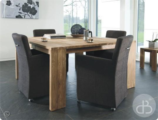 Vente table en teck dbodhi carree gamme fissure table for Salle a manger avec table carree