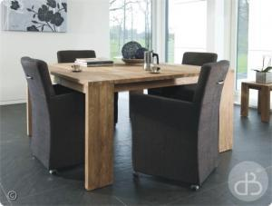 Table en teck de salle manger de mod le fixe ou rallonge for Table carree 8 personnes extensible