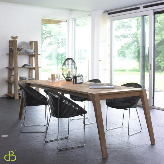 Vente table en teck dbodhi rectangulaire gamme fissure for Table de salle a manger en teck