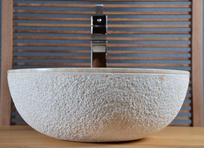 Vente vasque en marbre crozon walk vasque de salle de for Poser une vasque salle de bain
