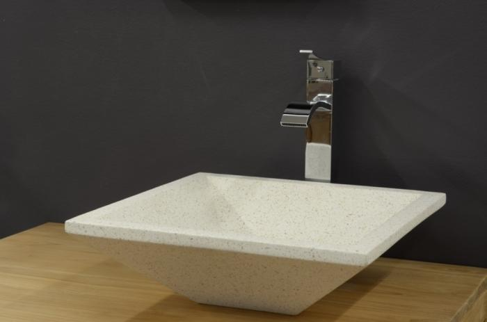 vasque carre a poser Vasque CARREE en Terrazzo Blanc 40 cm hauteur 13 cm