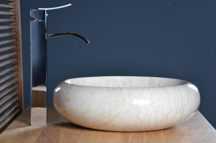 vasque beige salle de bain Vasque salle de bain en marbre beige Fouesnant