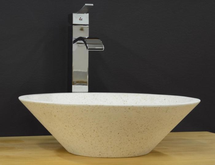 Vasque à Poser Ronde Diametre 40cm Forme Cone En Terrazzo Blanc Pour