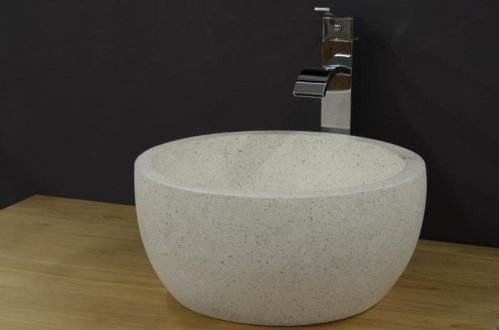 vasque ronde en terrazzo blanc. Black Bedroom Furniture Sets. Home Design Ideas