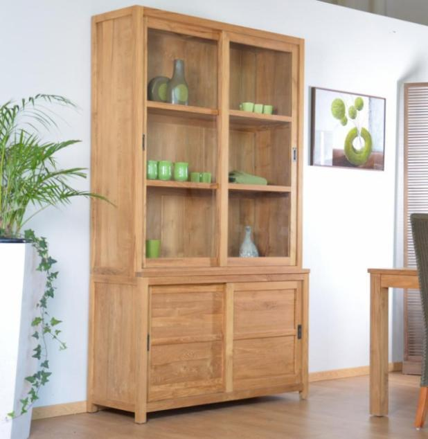achat vente vitrine walk natura 120 cm en teck vaisselier teck. Black Bedroom Furniture Sets. Home Design Ideas