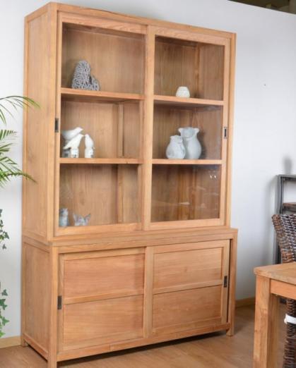 achat ventre vitrine 140 cm teck vaisselier teck vitrine teck recycl. Black Bedroom Furniture Sets. Home Design Ideas