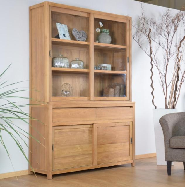 achat vente vitrine teck walk natura 160 cm 2 tiroirs vaisselier teck. Black Bedroom Furniture Sets. Home Design Ideas