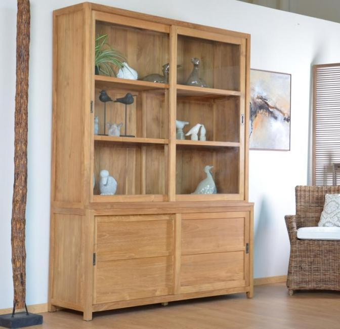achater vente vitrine teck walk natura 160 cm. Black Bedroom Furniture Sets. Home Design Ideas