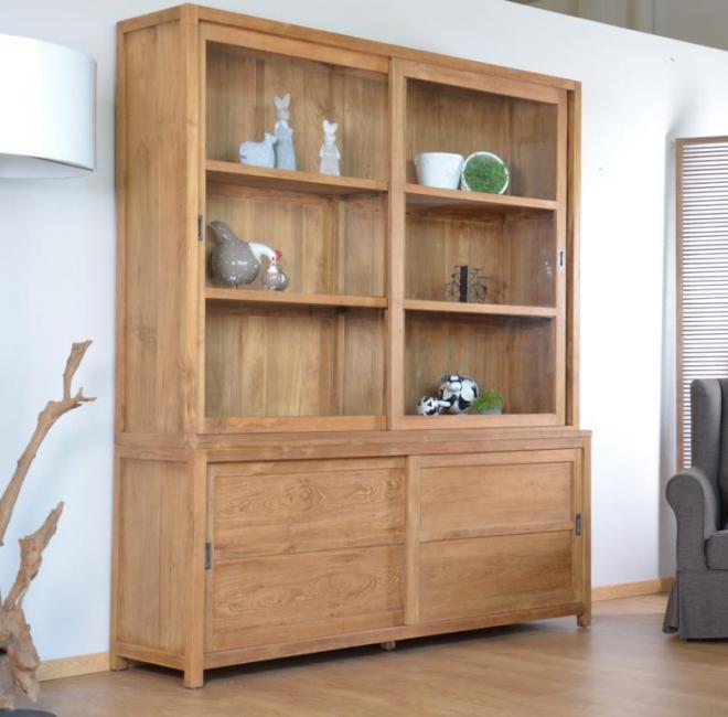 achat vente vaisselier teck walk natura 180cm. Black Bedroom Furniture Sets. Home Design Ideas
